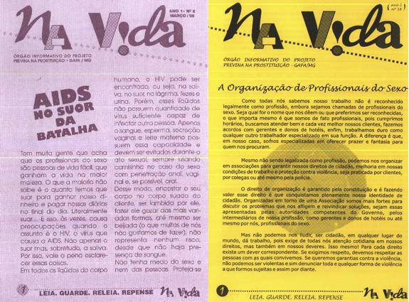 """Jornais """"Na Vida"""" - produzido pelo GAPA/MG - Fonte: http://www.severidade.com.br/prostituicao/#bf24"""